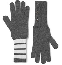 Thom Browne Striped Cashmere Gloves Dark Gray