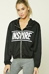 Forever 21 Active Inspire Graphic Jacket Black White
