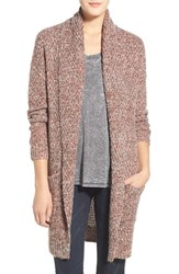 Women's Hinge Marled Long Open Front Cardigan Brown Seal Combo