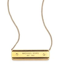 Michael Kors Logo Plaque Pendant Necklace Gold
