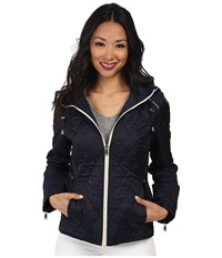 Nautica Hooded Quilted Jacket Marine Cloud Women's Coat Black