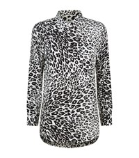 Equipment Signature Cheetah Print Silk Shirt Female Black