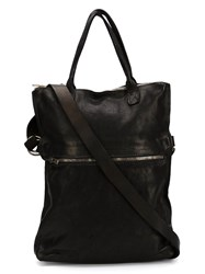 Guidi Front Zip Pocket Tote Black