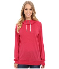 Icebreaker Sphere Long Sleeve Hood Cherub Heather Snow Women's Long Sleeve Pullover Pink