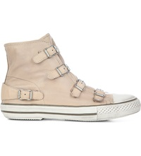 Kurt Geiger Lizzy Leather High Top Trainers Nude
