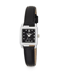 Peugeot Swarovski Crystal Square Silvertone Leather Strap Watch