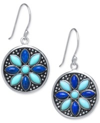 Macy's Manufactured Turquoise And Lapis Drop Earrings In Sterling Silver