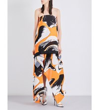 Solace London Hester Pleated Chiffon Off The Shoulder Dress Orange Print