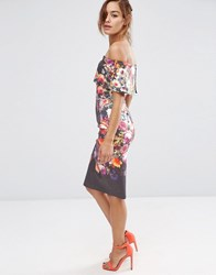 Asos Deep Fold Off The Shoulder Floral Midi Pencil Dress Multi