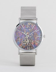 Reclaimed Vintage Snake Print Mesh Watch In Silver Silver