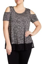 Hip Short Sleeve Cold Shoulder Sweater Plus Size Black