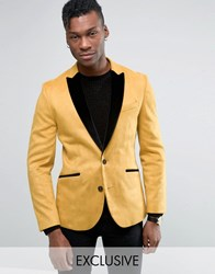 Religion Skinny Blazer In Velvet With Contrast Lapel Gold