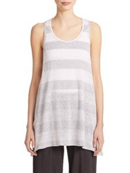 Eileen Fisher Striped Racerback Tank White Grey
