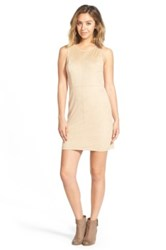 Painted Threads Faux Suede Shift Dress Beige