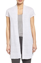Women's Eileen Fisher Organic Linen Cap Sleeve Long Cardigan White