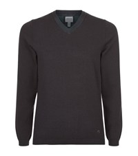 Armani Collezioni V Neck Melange Jumper Male Dark Grey