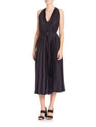 Tome Pleated Satin Halter Dress
