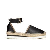 See By Chloe Women's Leather Espadrille Flat Sandals Black