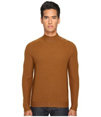 The Kooples Cotton And Nylon Mock Turtleneck Camel Men's Sweater Tan