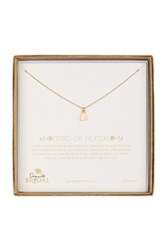 Dogeared 14K Gold Plated Sterling Silver Bridal Maid Of Honor Diamond Heart Necklace 0.01 Ctw Metallic