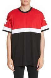 Givenchy Men's Columbian Fit Colorblock T Shirt Red