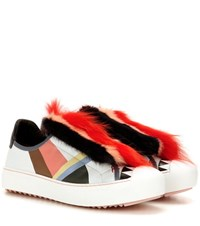 Fendi Fur Embellished Leather Sneakers Multicoloured