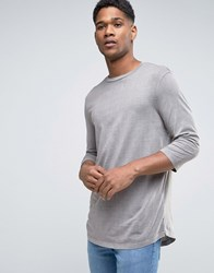 New Look T Shirt With 3 4 Length Sleeves And Curved Hem In Stone Stone