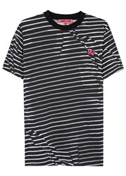 Mcq By Alexander Mcqueen Striped Cotton T Shirt Black And White