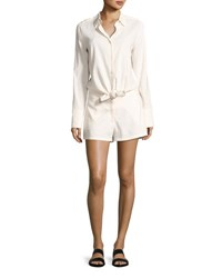 Theory Ranay Crunch Wash Long Sleeve Romper White