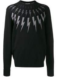 Neil Barrett Lightning Embroidered Sweater Black