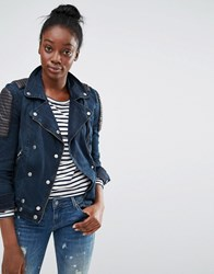 Only Denim Biker Jacket With Pu Detail Dark Blue