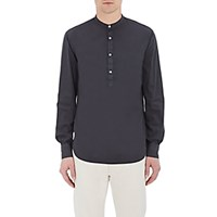 Officine Generale Men's Banded Collar Henley Black Blue Black Blue