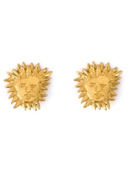 Yves Saint Laurent Vintage Sun Clip On Earrings Metallic