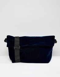Weekday Velvet Banana Bag Navy