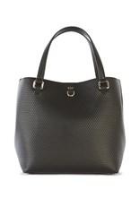 Karen Millen Embossed Mini Bucket Bag Black
