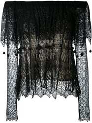 Alexander Mcqueen Lace Off The Shoulder Top Women Silk Viscose M Black