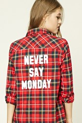 Forever 21 Never Say Monday Plaid Shirt Red Dark Navy