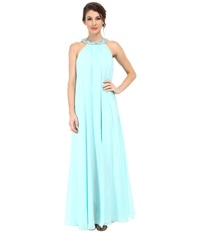 Badgley Mischka Chiffon Halter Maxi With Necklace Aqua Women's Dress Blue