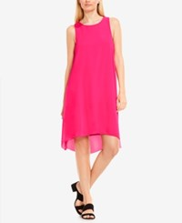Vince Camuto High Low Chiffon Overlay Shift Dress Electric Pink