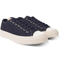 Visvim Skagway Lo Dogi Woven Canvas And Leather Sneakers Navy