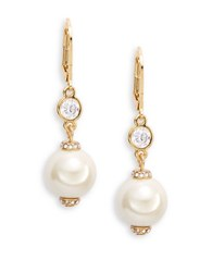 Kate Spade Simulated Faux Pearl Drop Earrings Gold Tone