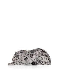 Wildcat Snow Leopard Crystal Embellished Evening Clutch Bag Silver Silver Rhine Mult Judith Leiber Couture