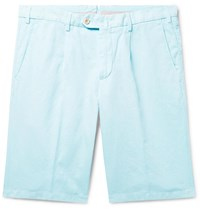 Loro Piana Slim Fit Pleated Cotton And Linen Blend Bermuda Shorts Blue