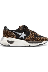 Golden Goose Deluxe Brand Running Sole Distressed Leopard Print Calf Hair And Neoprene Sneakers Leopard Print