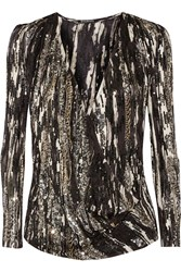 Balmain Sequin Embellished Silk Chiffon Top Black