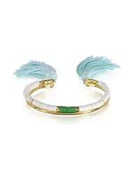 Aurelie Bidermann 18K Gold Plated And White Bamboo And Green Jaspe Beads Sioux Bracelet W Light Blue Cotton Tassels