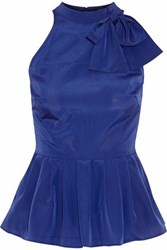 Raoul Pussy Bow Crepe De Chine Top Royal Blue