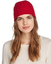 Bloomingdale's C By Elevated Ribbed Cashmere Cuff Hat 100 Exclusive Cherry