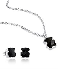 Tous Sterling Silver Teddy Bear Necklace And Earrings Set Black