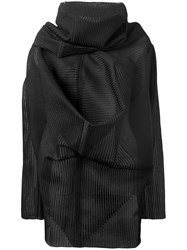 Rick Owens Ribbed Knit Poncho Black